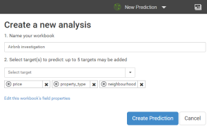 self-service analytics - watson analytics - prediction dialog